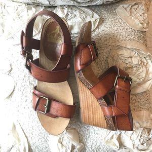 Crown Vintage Cognac Strappy Wedge Heel Sandals